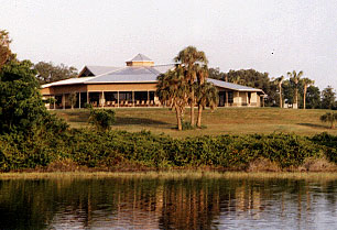 A view of the dinng hall from the lake